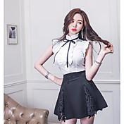 Mujer Simple Casual/Diario Camisa,Cuello Alto Un Color Sin Mangas Poliéster