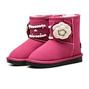 女の子 靴 レザー 冬 スノーブーツ フラワーガールシューズ コンフォートシューズ ブーツ ミドルブーツ ラインストーン ビーズ スパークリンググリッター フラワー 用途 結婚式 ドレスシューズ ブラック ピーチ ピンク