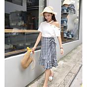 レディース カジュアル/普段着 夏 Tシャツ(21) スカート スーツ,シンプル ワンショルダー 格子柄 半袖