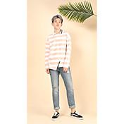 メンズ お出かけ カジュアル/普段着 春 秋 Tシャツ,シンプル ストリートファッション 活発的 シャツカラー ストライプ 幾何学模様 コットン 長袖 ミディアム