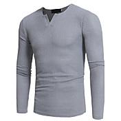 Hombre Simple Casual/Diario Tallas Grandes Otoño Camiseta,Escote en V Profunda Un Color Manga Larga Poliéster Medio