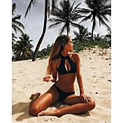 Mujer Halter Bikini Escote Con Lazo Estampado