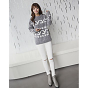 Mujer Regular Pullover Casual/Diario Simple,Estampado Escote Redondo Manga Larga Nailon Primavera Medio Microelástico