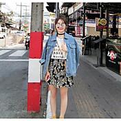 レディース お出かけ 秋 デニムジャケット,ストリートファッション シャツカラー ソリッド レギュラー その他 長袖
