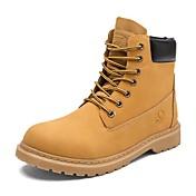 Hombre Zapatos Cuero Primavera Otoño Botas de Combate Botas Con Cordón Para Casual Negro Amarillo Caqui