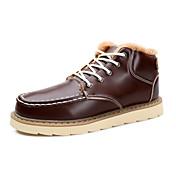 メンズ 靴 レザー 秋 冬 コンフォートシューズ スノーブーツ ブーツ ウォーキング 編み上げ 用途 カジュアル ブラック Brown ブルー