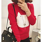 Mujer Regular Pullover Casual/Diario Estampado Escote Redondo Manga Larga Otro Otoño Medio Microelástico