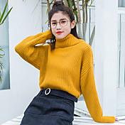Mujer Regular Pullover Casual/Diario Un Color Cuello Alto Manga Larga Algodón Otoño Invierno Grueso Elástico