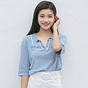Mujer Regular Pullover Casual/Diario Simple,Un Color Cuello Camisero Manga Corta Piel Sintética Verano Medio Microelástico