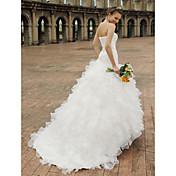 Princesa Escote Corazón Capilla Organza Satén Vestido de novia con Cuentas Apliques Volante en Cascada En Cruz por LAN TING BRIDE®