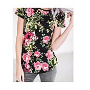 Mujer Vintage Tejido Oriental Casual/Diario Primavera Verano Camiseta,Escote Redondo Floral Manga Corta Algodón Fino