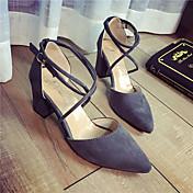 レディース 靴 PUレザー 夏 コンフォートシューズ サンダル チャンキーヒール 用途 ブラック グレー ピンク