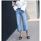 Mujer Vintage Chic de Calle Tiro Alto Rígido Corte Ancho Vaqueros Pantalones,Un Color Otoño