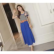 Mujer Simple Casual/Diario Verano T-Shirt Falda Trajes,Escote Redondo A Rayas Manga Corta Microelástico