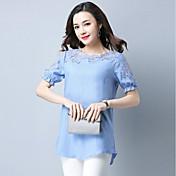 Mujer Tejido Oriental Casual/Diario Verano Camiseta,Escote Redondo Un Color Manga Corta Lino Fino