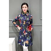 Mujer Sofisticado Casual/Diario Camisa,Cuello Camisero Floral Manga Larga Algodón Lino
