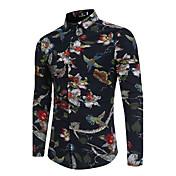 Hombre Vintage Casual/Diario Primavera/Otoño Camisa,Cuello Camisero Floral Manga Larga Algodón Acrílico Medio