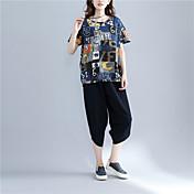 レディース カジュアル/普段着 夏 Tシャツ,シンプル ラウンドネック プリント コットン 半袖 薄手