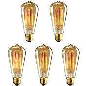 5pcs st64 40w vintage edison luz e27 filamento regulable bombillas incandescentes ac220-240v