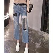Mujer Casual Tiro Medio Microelástico Delgado Vaqueros Pantalones,Bloques Verano