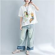 Mujer Simple Noche Camiseta,Escote Redondo Un Color Estampado Manga Corta Algodón Lino