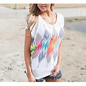 レディース スポーツ カジュアル/普段着 春 夏 Tシャツ,シンプル 活発的 ラウンドネック 千鳥格子 コットン 半袖 薄手