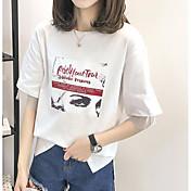 レディース カジュアル/普段着 Tシャツ,シンプル ラウンドネック ソリッド コットン ハーフスリーブ