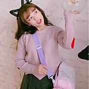 Mujer Regular Pullover Casual/Diario Estampado Escote Redondo Manga Larga Otro Primavera Invierno Medio Microelástico