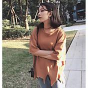 Mujer Vintage Casual/Diario Camiseta,Escote Redondo Un Color Media Manga Algodón