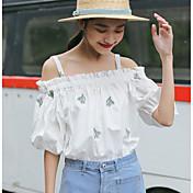 Mujer Sexy Bonito Casual/Diario Verano Camiseta,Escote Redondo Un Color Estampado Manga Corta Algodón Fino