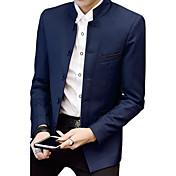 Hombre Simple Vintage Casual/Diario Tallas Grandes Primavera Otoño Blazer,Escote Chino Un Color Manga Larga Algodón Acrílico Poliéster