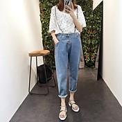 Mujer Casual Tiro Alto Microelástico Corte Recto Vaqueros Pantalones,Un Color Otoño