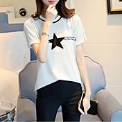 Mujer Regular Pullover Casual/Diario Simple,Estampado Escote Redondo Manga Corta Piel Sintética Otoño Medio Microelástico