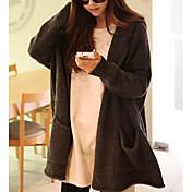 Mujer Regular Cardigan Casual/Diario Simple,Un Color Con Capucha Manga Larga Algodón Otoño Medio Microelástico