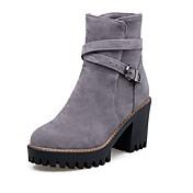 レディース 靴 フロック加工 秋 冬 コンフォートシューズ ブーツ ラウンドトウ ベックル 用途 ブラック グレー Brown ワイン