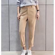 Mujer Casual Tiro Alto Microelástico Corte Recto Chinos Pantalones,Un Color Verano