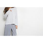 Mujer Simple Noche Casual/Diario Camiseta,Escote Redondo A Rayas Manga Larga Algodón