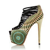 Mujer Zapatos PU microfibra sintético Verano Otoño Innovador Tacones Tacón Stiletto Punta abierta Cremallera Para Boda Fiesta y Noche