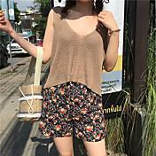 Mujer Casual Tiro Alto Microelástico Corte Ancho Shorts Pantalones,Floral Verano