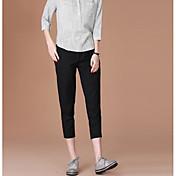 Mujer Casual Tiro Alto Microelástico Ajustado Delgado Pantalones,Un Color Verano