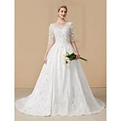 vestido de bola vestido de novia de Tulle de la corte del neckline del vestido de bola con el rebordear por yuanfeishani