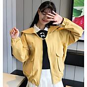 レディース お出かけ カジュアル/普段着 秋 デニムジャケット,シンプル フード付き ソリッド レギュラー コットン 長袖