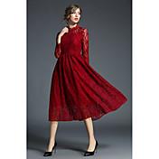 Mujer Línea A Vaina Corte Swing Vestido Ropa Cotidiana Trabajo Vintage Casual Chic de Calle,Un Color Hueco Bordado Escote Redondo Midi