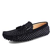 Hombre Zapatos Cuero real Cuero Primavera Verano Mocasín Zapatos de taco bajo y Slip-On Para Casual Negro Azul Oscuro Azul Borgoña