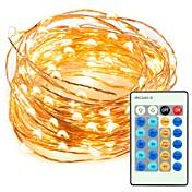 33ft 100 led luces de alambre de cobre de cadena regulable con luces decorativas impermeables de control remoto para fiestas de jardín de