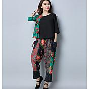 Mujer Tejido Oriental Tiro Medio Microelástico Chinos Pantalones,Estampado Bloques Otoño