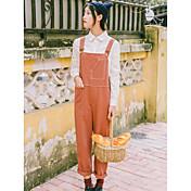 Mujer Casual Tiro Medio Microelástico Perneras anchas Bib Tights Pantalones,Un Color Invierno Otoño