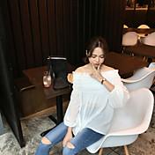 Mujer Activo Casual/Diario Otoño Camiseta,Escote Barco Un Color Manga Larga Algodón Medio