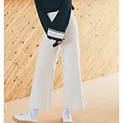 Mujer Chic de Calle Microelástico Perneras anchas Pantalones,Perneras anchas Un Color