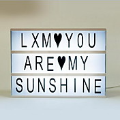 ロマンチックな贈り物ライトボックスDIYかわいい自由な組み合わせ映画のライトボックスブラック+カラフルな文字セット